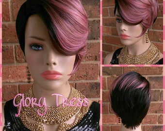 ON SALE // Short Razor Cut Full Wig, Pixie Cut Hairstyle With Long Side Bangs, Ombre Pink Wig, Lace Side Part //REVIVE