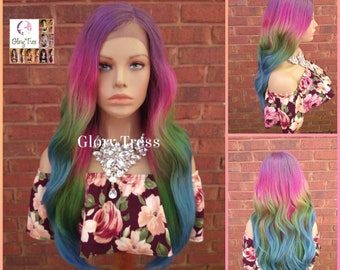 Wavy Lace Front Wig - Blonde Wig - Glory Tress - Ombre Wig - Rainbow Wig- Body Wave - Unicorn Haircolor - Pastel - READY To SHIP// VIVID