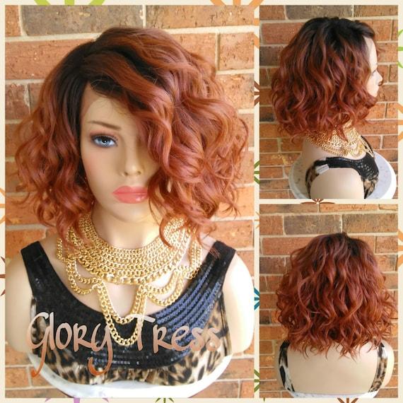 Wavy Lace Front Wig Short Wavy Bob Wig 100 Human Hair Etsy