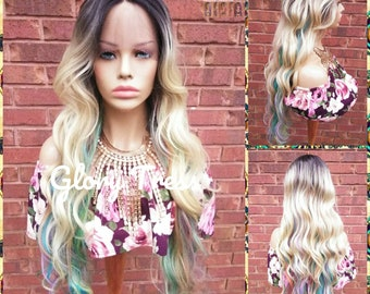 Wavy Lace Front Wig - Blonde Wig - Glory Tress - Ombre Wig - Rainbow Wig- Body Wave - Unicorn Haircolor - Pastel - READY To SHIP//RAINBOW2