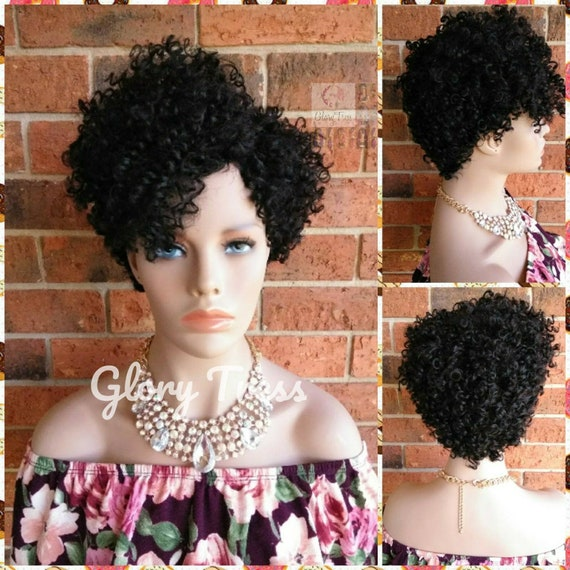 Short Kinky Curly Wig, Natural Afro Wig,