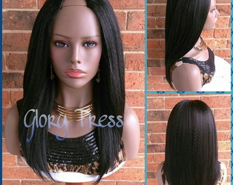 READY To SHIP // Kinky Straight U Part Wig, Natural Yaki Straight Wig, Blown Out Hairstyle, African American Wig // HOPE