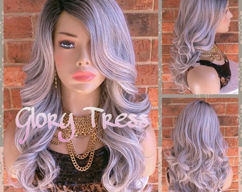 READY To SHIP // Long & Curly Silver/Gray Full Wig, Ombre Silver Wig, Dark Rooted Bombshell Wig, Lace Part // PURE (Free Shipping)