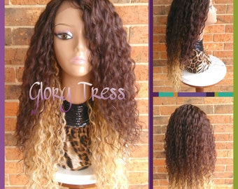CLEARANCE // Celebrity Inspired Hairstyle, Long Curly Lace Front Wig, Ombre Brown and Blonde Wig // REDEEM (Free Shipping)