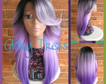 ON SALE // Feathered Flip Lace Front Wig, Ombre Lavender wig, Long Yaki Wig, African American Wig // ROYAL (Free Shipping)