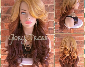 READY To SHIP // Voluminous Kinky Curly Lace Front Wig, Natural Yaki Wig, Blown Out Hairstyle, Ombre Blonde Brown // LOVED (Free Shipping)