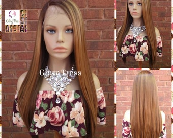 New Arrival- Lace Front Wig, Ombre Auburn/ Blonde Wig, Straight Wig, Blonde Wig, Glory Tress Wigs, Wigs, Wig, Heat Safe  // YOU'RE AWESOME