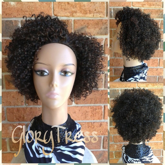 ON SALE // Short Kinky Curly Wig, Curly Half