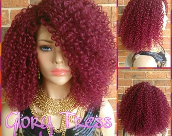 ON SALE // Kinky Curly Lace Front Wig, Big Curly Afro Wig, Curly Burgundy Wig // UNDERSTANDING (Free Shipping)