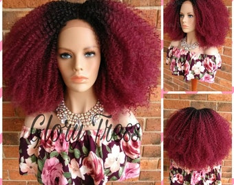 ON SALE // Kinky Curly Lace Front Wig, Big Curly Afro Wig, Ombre Burgundy Wig //GRAND