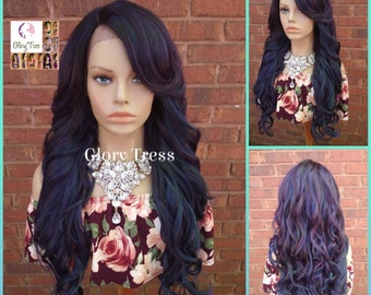 NEW ARRIVAL // Long & Curly Lace Front Wig, Ombre Oil Slick Rainbow Hair, Glory Tress, Dark Rooted Bombshell Wig, Ready To Ship// SALVATION