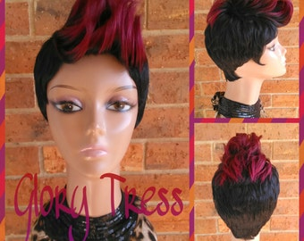 ON SALE// Celebrity Inspired Mohawk Wig, Ombre Mohawk Full Wig, Short Razor Cut Wig // REPENT