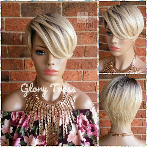Short Razor Cut Full Wig, Ombre Platinum