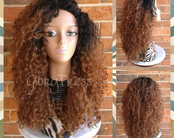 Big Kinky Curly Half Wig, Ombre Wig, Beach Curly Afro Wig, African American Wig, CLEARANCE // AMAZING