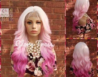 ON SALE - Wavy Lace Front Wig, Wig, Ombre Pink Wig, Glory Tress, Pink Wig, Unicorn Haircolor, Cosplay Wig, Heat Safe // DIVA