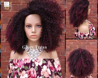 Kinky Curly Wig,  Curly Half Wig, Big Natural Afro Wig, African American Wig, Glory Tress, Burgundy Wig, New Arrival // YOU'RE GORGEOUS