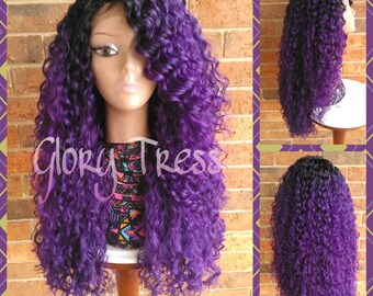 ON SALE// Long Kinky Curly Lace Front Wig, Ombre Purple wig, Beach Curls, Wig With Baby Hair // RESTORE ( Free Shipping )