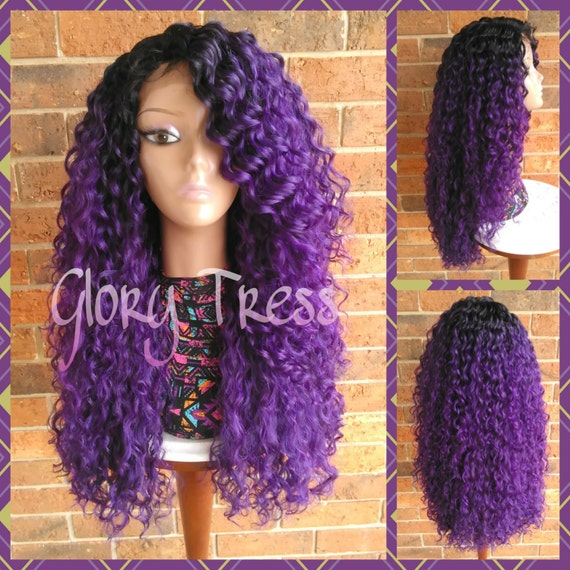 ON SALE   Long Kinky Curly Lace Front Wig Ombre Purple wig  88cee93de713