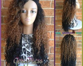 ON SALE // Long Kinky Curly Half Wig, Ombre Wig,  Long Beach Curly Afro Wig, African American Wig // LIFE