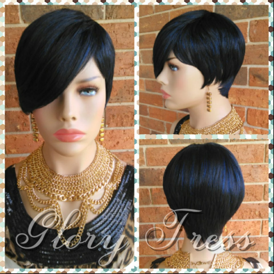 Ready To Ship Short Razor Cut Full Wig Pixie Cut Hairstyle With Long Side Bangs Blue Black Wig Rejoice