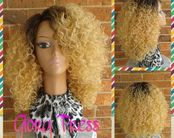 ON SALE // Kinky Curly Lace Front Wig, Big Curly Afro Wig, Ombre Golden Blonde Wig // HAPPY (Free Shipping)