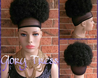 READY To SHIP// Kinky Curly Afro Drawstring Ponytail, Black Afro Puff Ponytail Extensions, African American Hairstyle // SHARON