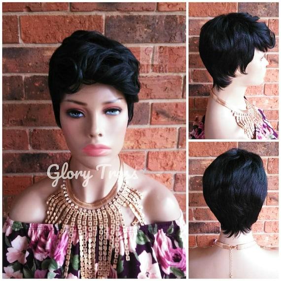 Short Razor Cut Full Wig, Pixie Cut Hairstyle, Short Green Wig, Black Wig,  READY To SHIP // DEMAND
