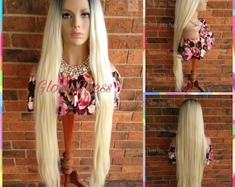 ON SALE //Long & Straight/Wavy Full Wig, Ombre Platinum Blonde Wig, Lace Part Wig//EXTEND