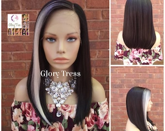 Straight Lace Front Wig, Wigs, Black Wig/White Highlight, Glory Tress Wigs, Ombre Wig, Ready To Ship // DEVOTE