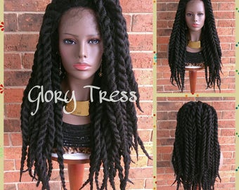 READY To SHIP // Extra Large Twists Braided Lace Front Wig, Long Hand-Twisted Senegal Wig, African American Wig // BELOVED2 (Free Shipping)