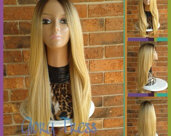 ON SALE// Long & Straight Ombre Lace Front Wig, Ombre Golden Platinum Blonde Wig // POWER (Free Shipping)