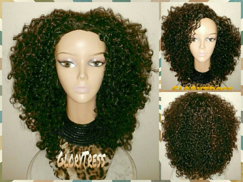 ON SALE    Celebrity Inspired Hairstyle Kinky Curly Half Wig Big ... 4f1ae2768b6c