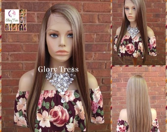 Lace Front Wig, Ombre Dark Ash Blonde Wig, Straight Wig, Blonde Wig, Glory Tress Wigs, Wigs, Wig, Heat Safe, On Sale  // YOU'RE AWESOME