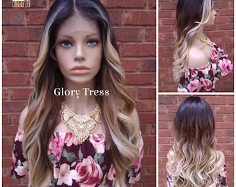 Wavy Lace Front Wig, Money Piece Highlights, Blonde Wig, Blonde Wig, Glory Tress, Wigs, Wig, 13 x 6 Free Parting, NEW ARRIVAL  // GLOW