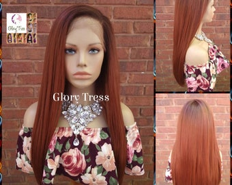 NEW ARRIVAL // Straight Lace Front Wig, Wig, Glory Tress, Copper Red Wig, Human Hair Blend Wig, 13 x 4 Free Parting, Ready To Ship// AUTUMN