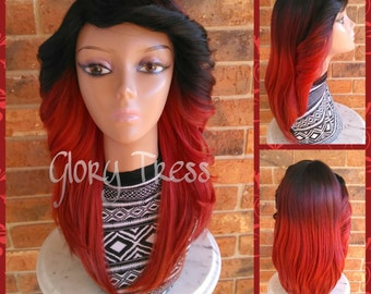 CLEARANCE // Feathered Flip Full Wig, Red Ombre wig, Natural Yaki Texture Wig  // FIERCE