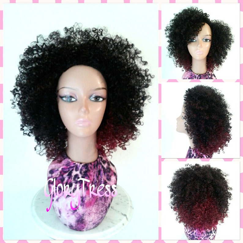 ON SALE    Short Curly Half Wig Kinky Curly Ombre Wig Big  d2ca09f2ded9
