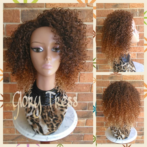 ON SALE   Short Kinky Curly Wig Ombre Curly Half Wig Natural  a1ab003a6e09