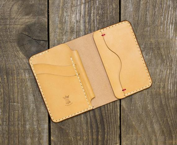 Cuir portefeuille cahier EDC petit porte monnaie plume   Etsy a4e72ebae17