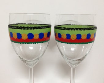 Wedding Wine Glasses Handpainted Wine Glasses Polka Dots