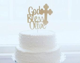Christening Cake Topper, Baptism Cake Topper, God Bless Cake Topper, Baptism Decor, Personalized Topper, Dedication Cake Topper