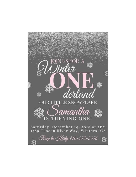 winter onderland birthday invitation digital invite snowflake
