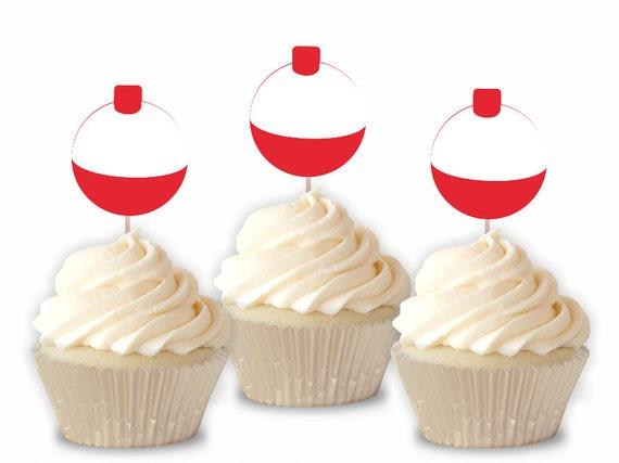 Incredible Bobber Cupcake Toppers Fishing Cupcake Toppers Fishing Birthday Funny Birthday Cards Online Eattedamsfinfo