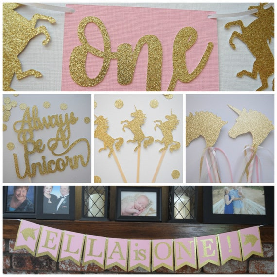 Unicorn Birthday Decor Party Pack Pink And Gold Glitter 1st Theme