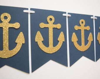Anchor Banner, Anchor Bunting, Baby Shower Banner, Bachelorette Party Banner, Nautical Banner, Anchor Garland, Nautical Garland