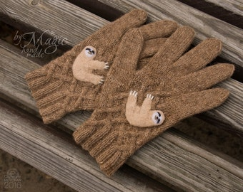 f53e9876c29b6 Hand knitted women gloves, sloth gloves, camel wool, sloth clothes, gloves  with sloth, knit gloves, sloths, brown gloves, gift for women