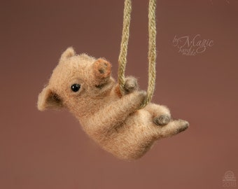 Necklace with needle felted pig, felted pig toy, pink pendant, piggy charm, needle felt piglet, wool toy pig, christmas gift