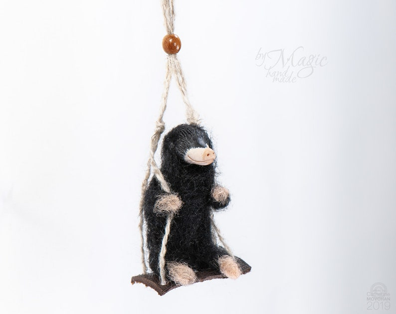 Necklace With Mole Needle Felted Mole Woodland Creature Wool Mole Small Pendants Swinging Animal Mole Gift