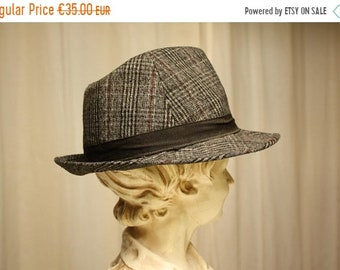 Vintage Trilby Hat, Grey Lambswool Tweed Trilby Fedora Hat - Stingy Brim - Men Women, Quality manufacture, brilliantly stylish
