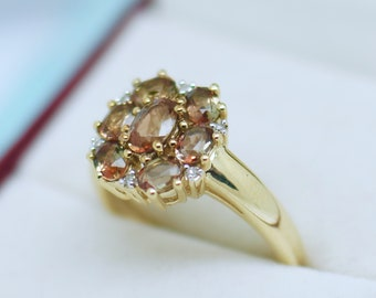 Estate Jewellery Solid 9K Gold Ring Set With Andalusite And Natural Diamonds Antique Jewelry Size 71/4 or O